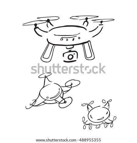 Drone spy camera cartoon drawing