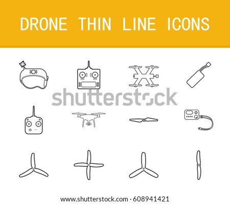 Drone thin line icons set