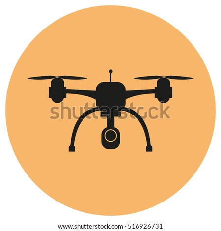 Drone with a camera taking photography or video recording . Black icon on isolated background. Quadrocopter. Flat design.