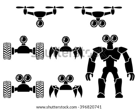 drones and robots icon set - stock vector