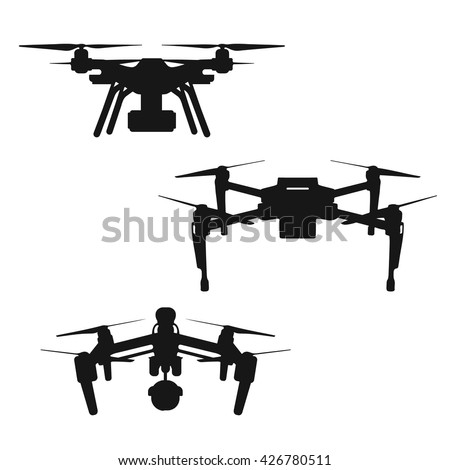 Set Aerial Black Silhouette Quadcopter Drone 566632687 on remote control flying helicopter toy