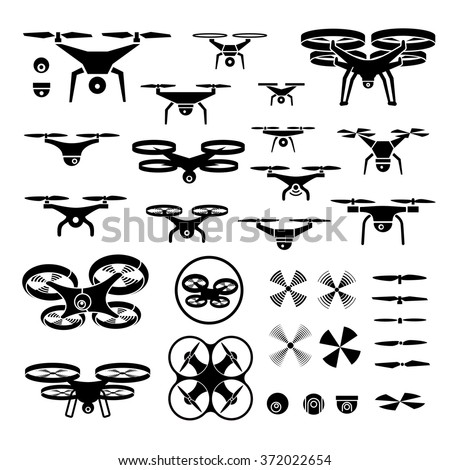 Drones Vector Illustration Icons Logos Set 372022654 on model drone helicopter