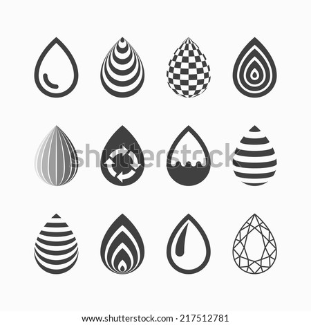 Drop icons. Vector. - stock vector