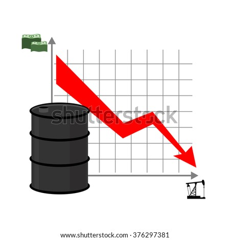 Drop in oil. Graph of  decline rate of oil industry. Red down arrow. Oil rig, oil pump and lots of money. Oil prices are falling on business market. Oil quotations decrease  - stock vector