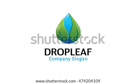 Drop Leaf Logo Design Illustration