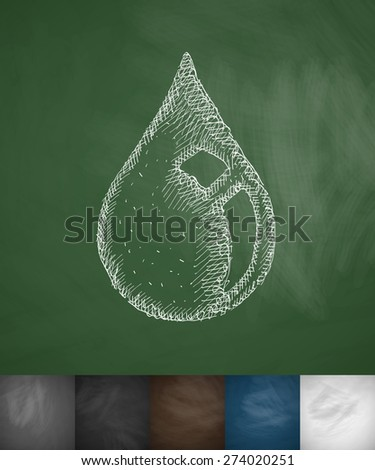 drop of oil icon. Hand drawn vector illustration. Chalkboard Design - stock vector