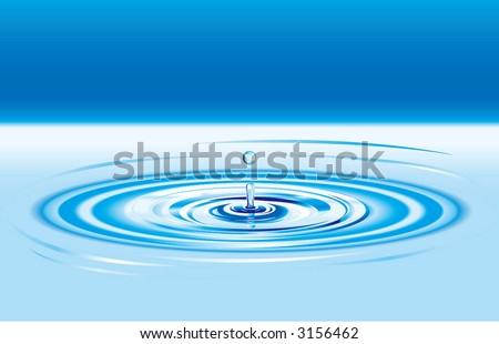 drop ripples in the water - stock vector