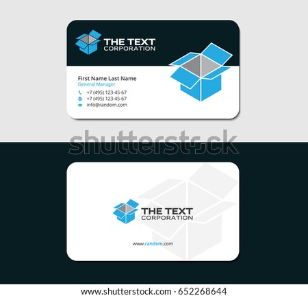 Drop shipping business card template blue stock vector hd royalty drop shipping business card template with blue open box colourmoves