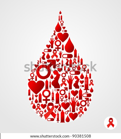 Drop silhouette made with AIDS icons set. Vector file available - stock vector