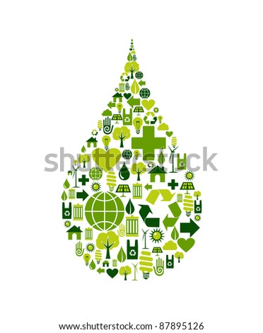 Drop silhouette made with environmental icons set. - stock vector