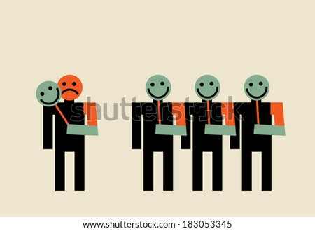 drop the fake smile mask - stock vector