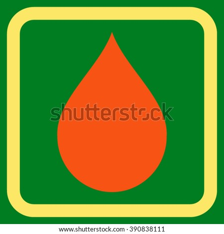 Drop vector icon. Style is bicolor flat symbol in a rounded square frame, orange and yellow colors, green background. - stock vector