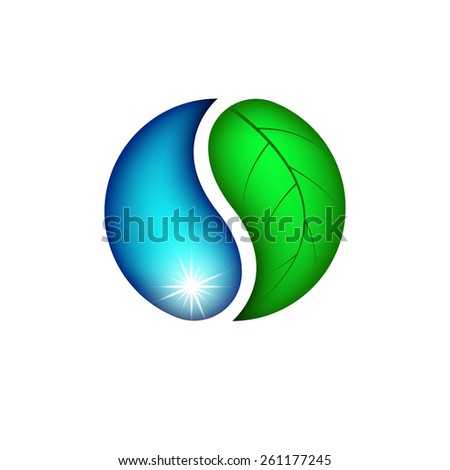 Drop water and leaf plants, Eco logo, Earth day icon - stock vector