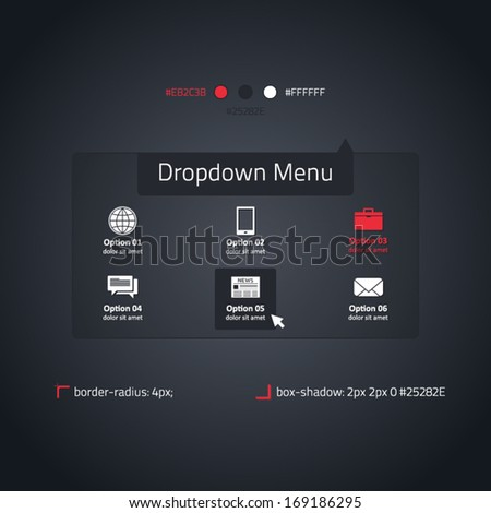 Dropdown menu - transparent website element - stock vector