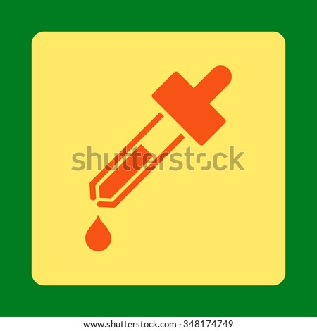 Dropper vector icon. Style is flat rounded square button, orange and yellow colors, green background. - stock vector