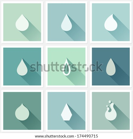 Drops. Flat design elements with long shadow - stock vector