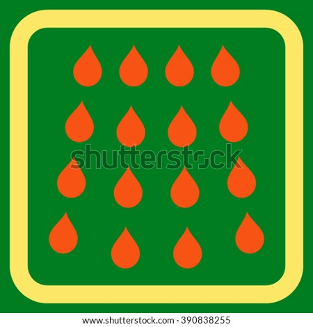 Drops vector icon. Style is bicolor flat symbol in a rounded square frame, orange and yellow colors, green background. - stock vector