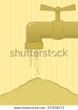 Drought - Concept illustration of a water faucet with flowing sand. Eps10 - stock vector