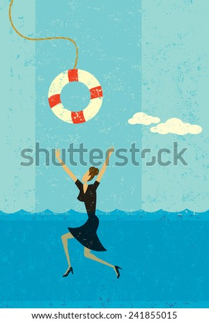 Drowning businesswoman being saved - stock vector