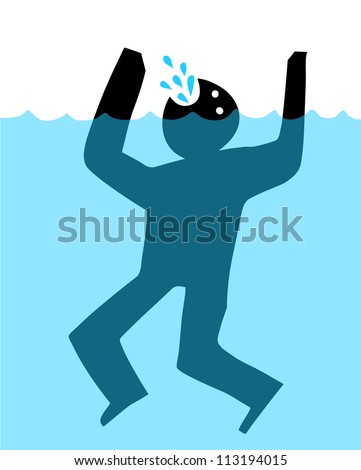 drowning man - stock vector