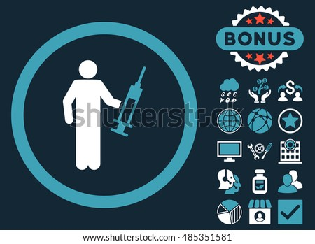 Drug Dealer icon with bonus images. Vector illustration style is flat iconic bicolor symbols, blue and white colors, dark blue background.