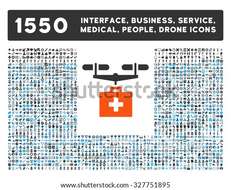 Drug Drone Delivery and other web interface, business tools, people poses, medical service vector icons. Style is flat symbols, bicolored, rounded angles, white background.