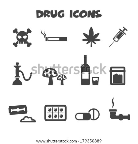 drug icons, mono vector symbols