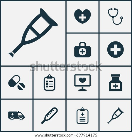 Drug Icons Set. Collection Of Mark, Heal, Diagnosis And Other Elements. Also Includes Symbols Such As Crutch, Stethoscope, First-Aid.