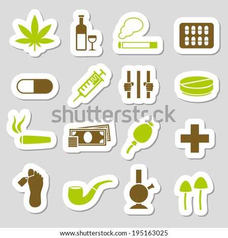 drug stickers - stock vector