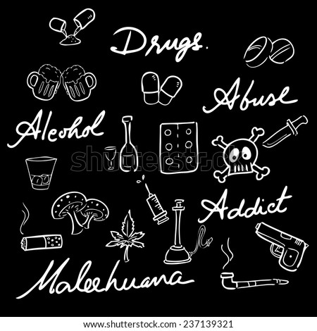 Drugs abuse narcotic drawing icons set chalk blackboard - stock vector