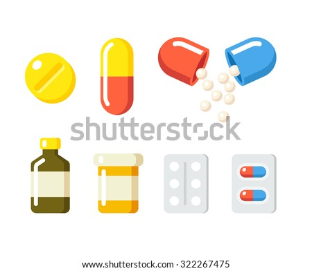 Drugs icons: pills, capsules ans prescription bottles. Medicine vector illustration in modern flat cartoon style. - stock vector