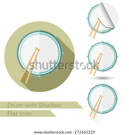 drum and sticks top view flat icon on white with oval long shadow and folded corner - stock vector