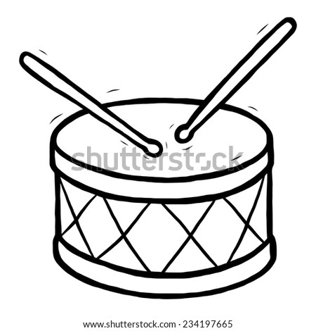 drum / cartoon vector and illustration, black and white, hand drawn, sketch style, isolated on white background. - stock vector