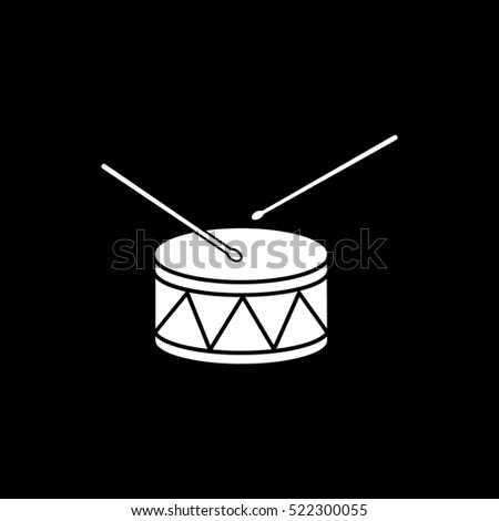 Drum Flat Icon On Black Background