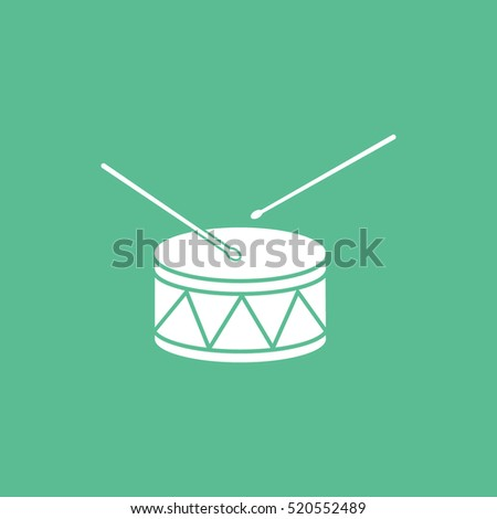 Drum Flat Icon On Green Background