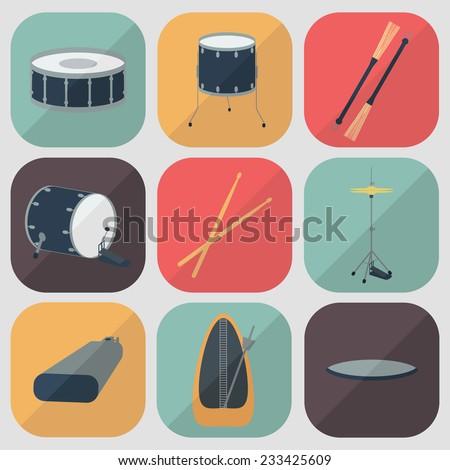 Drum flat icons. Flat design. Shadow. Vector illustration - stock vector