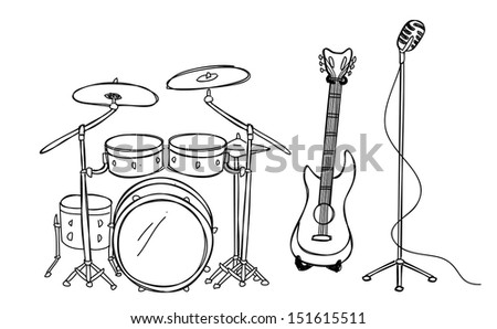 drum guitar and microphone - stock vector