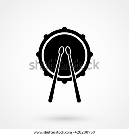 Drum Icon isolated on background. Modern flat pictogram, business, marketing, internet concept. Trendy Simple vector symbol for web site design or button to mobile app. Logo illustration - stock vector