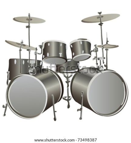 Drum Set Outline Drum kit grey vector