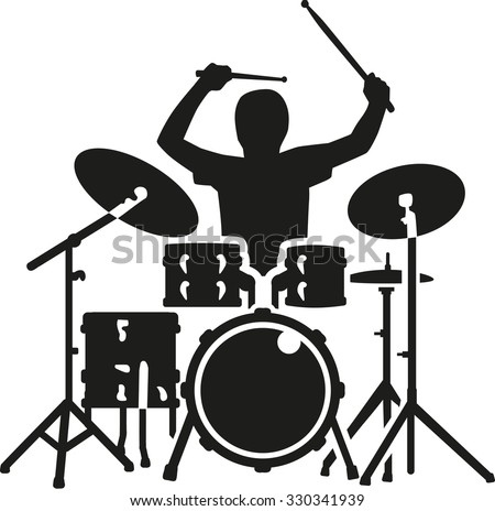 Drum kit with drummer in action - stock vector