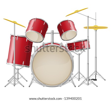drum set vector illustration isolated on white background - stock vector