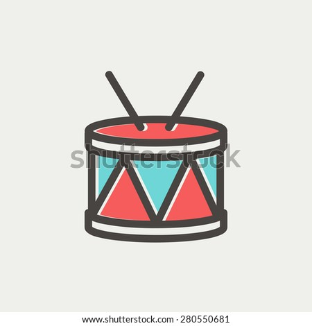 Drum with stick icon thin line for web and mobile, modern minimalistic flat design. Vector icon with dark grey outline and offset colour on light grey background. - stock vector