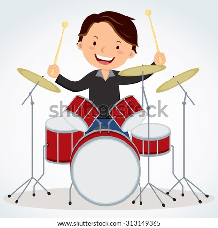Drummer. Vector illustration of a young man playing drums. - stock vector