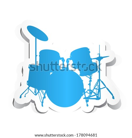 Drums Icon with Paper Design. - stock vector