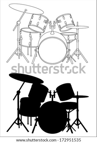 Drums - silhouette and outline, vector art image illustration, isolated on white background eps10 - stock vector