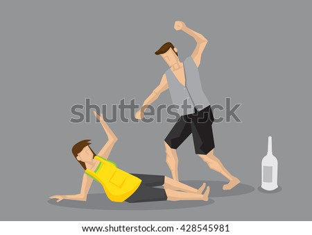 Drunk abusive husband punching and hitting frightened wife. Vector cartoon illustration on drinking problem and domestic violence concept isolated on grey background. - stock vector