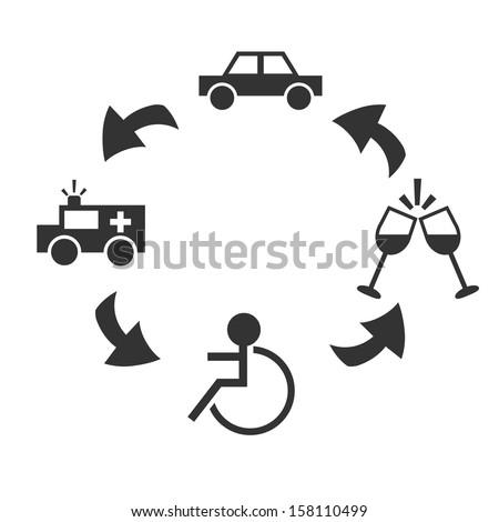 Drunk drive - stock vector