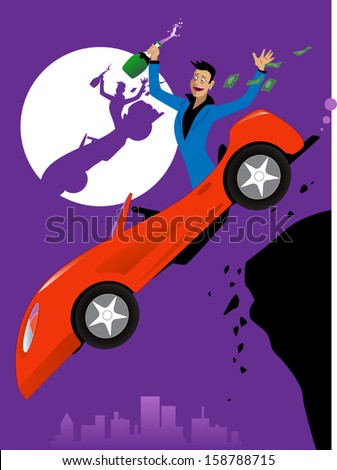 Drunk driver falling off the cliff in an expensive car, losing money, vector cartoon - stock vector