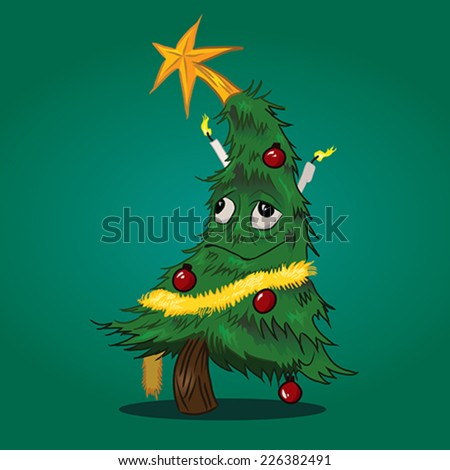drunk hangover christmas tree character with red globes and yellow star on top - stock vector