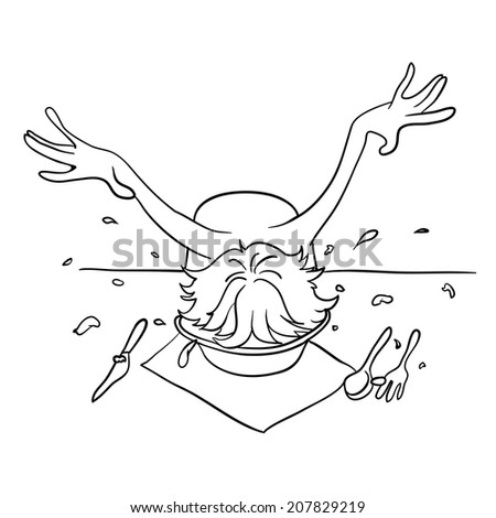 Drunk man with his head in a plate, vector illustration - stock vector